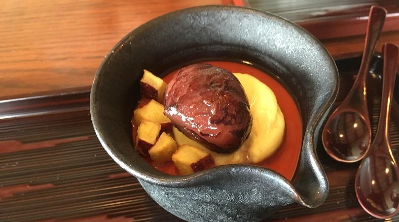 茜舎の和栗と渋皮煮とほうじ茶のムース
