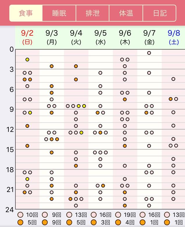 授乳の記録(授乳回数と時間が分かるパターン)